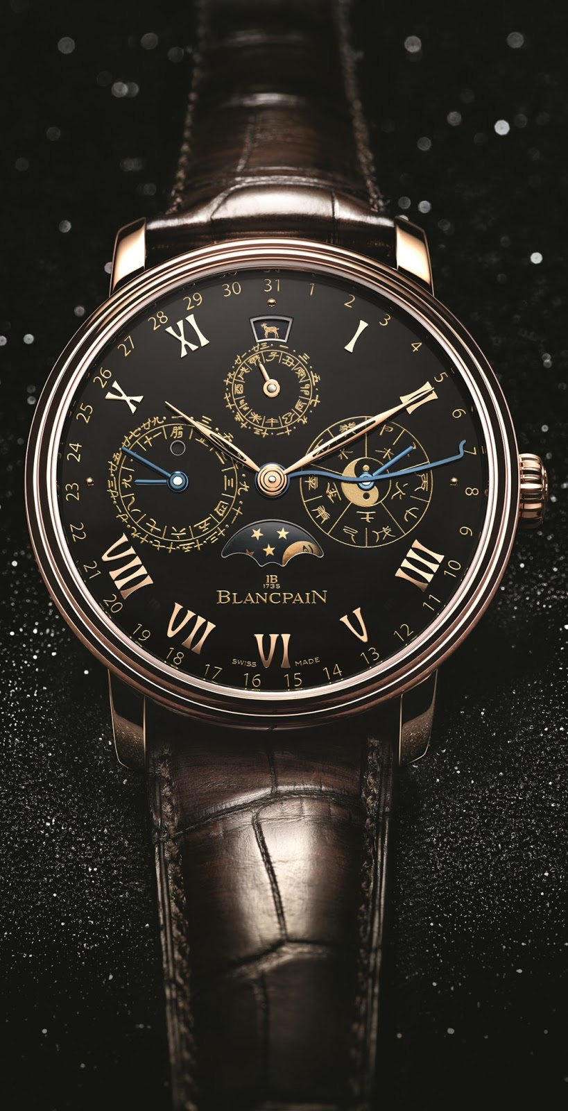 Rose gold blancpain traditional chinese calendar watch replica