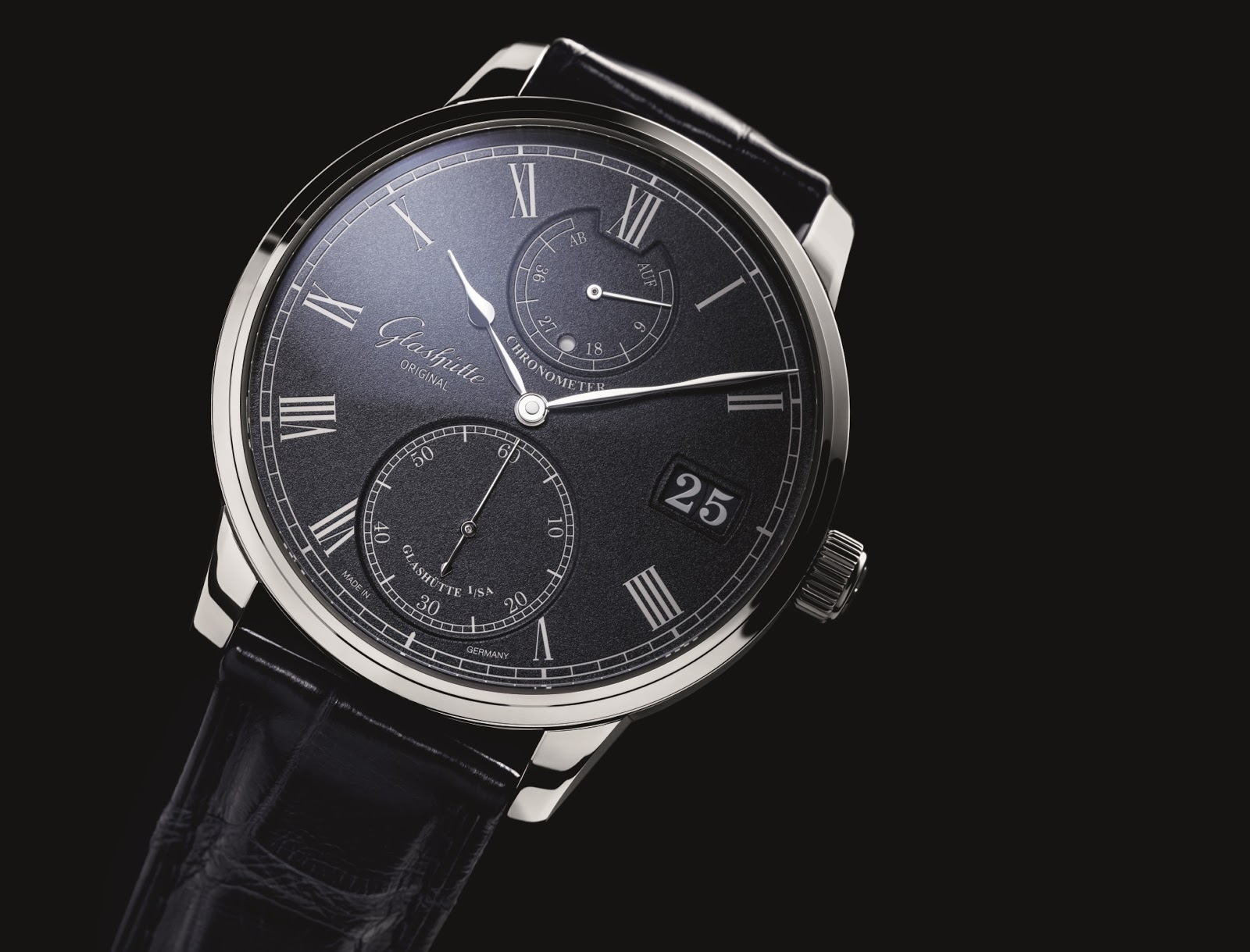 Black Dial Glashütte Original Senator Chronometer Replica Watch