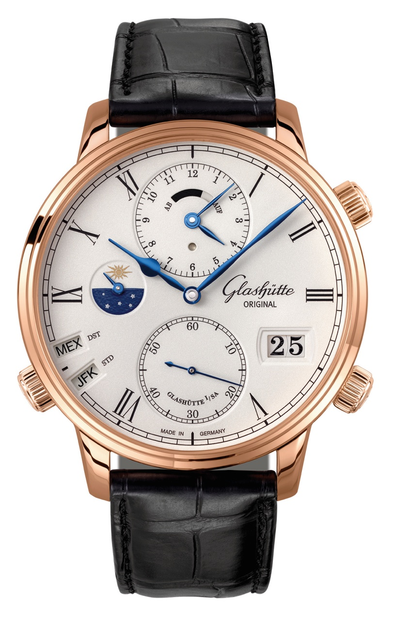 Rose gold glashütte original senator cosmopolite replica watch