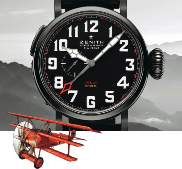Best zenith pilot type 20 gmt red baron replica watch