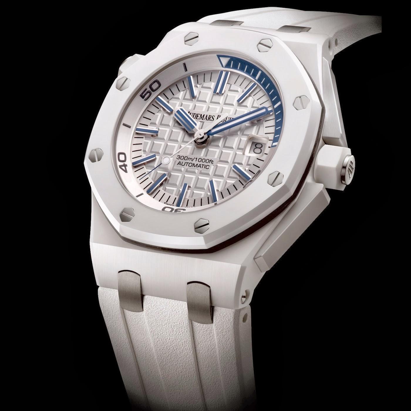 White ceramic audemars piguet royal oak offshore diver replica watch