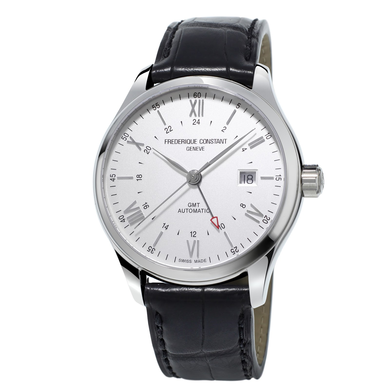 white dial frederique constant classic index gmt watch replica