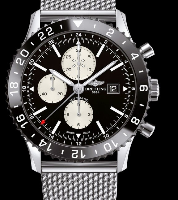 Black Dial Breitling Chronoliner Replica Watch