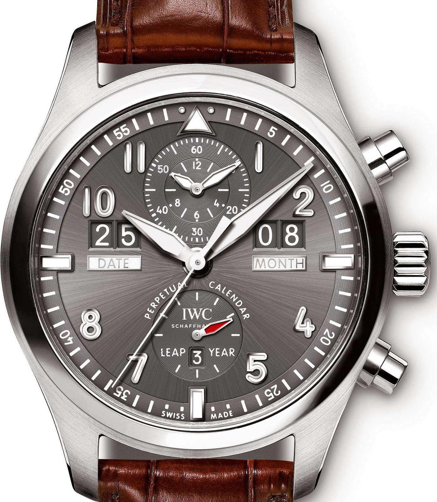 Stainless Steel IWC Pilot Spitfire Perpetual Calendar Digital Date-Month Replica Watch