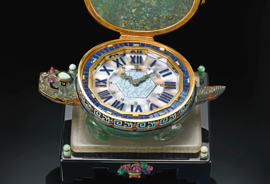 This rare gold, hardstone, enamel and gem-set desk timepiece in the form of a tortoise sold for $875,000 in June of 2014.