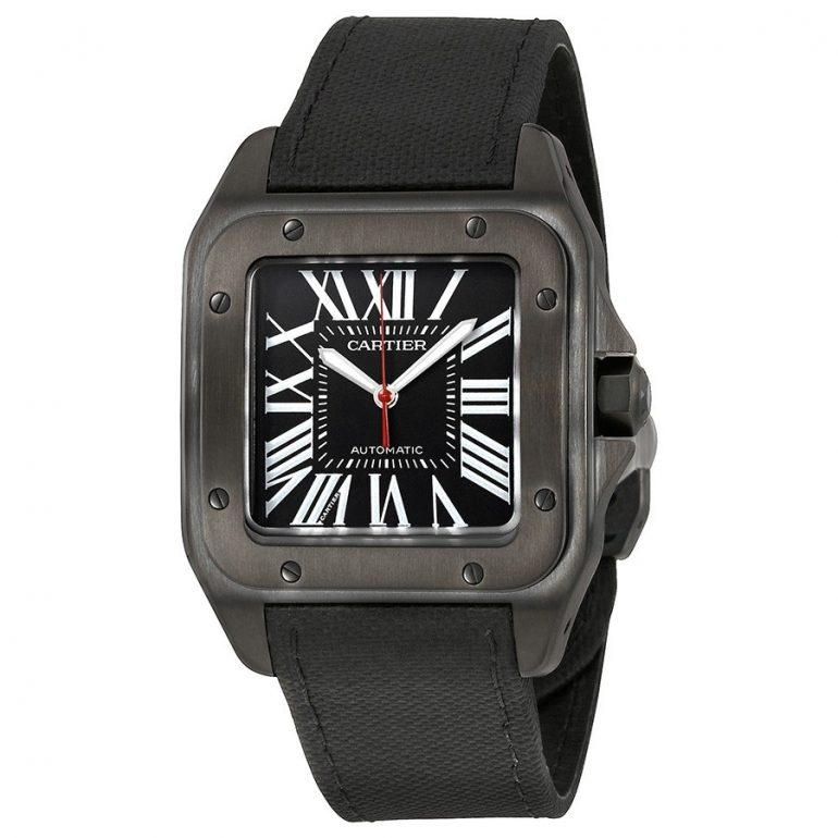 Cartier Santos Automatic Black Dial Men's Watch WSSA0006