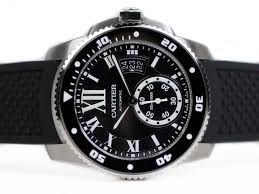 Cartier Calibre De Cartier Diver Black Dial Rubber Watch Replica